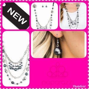 Black Ribbon Necklace Earrings Set
